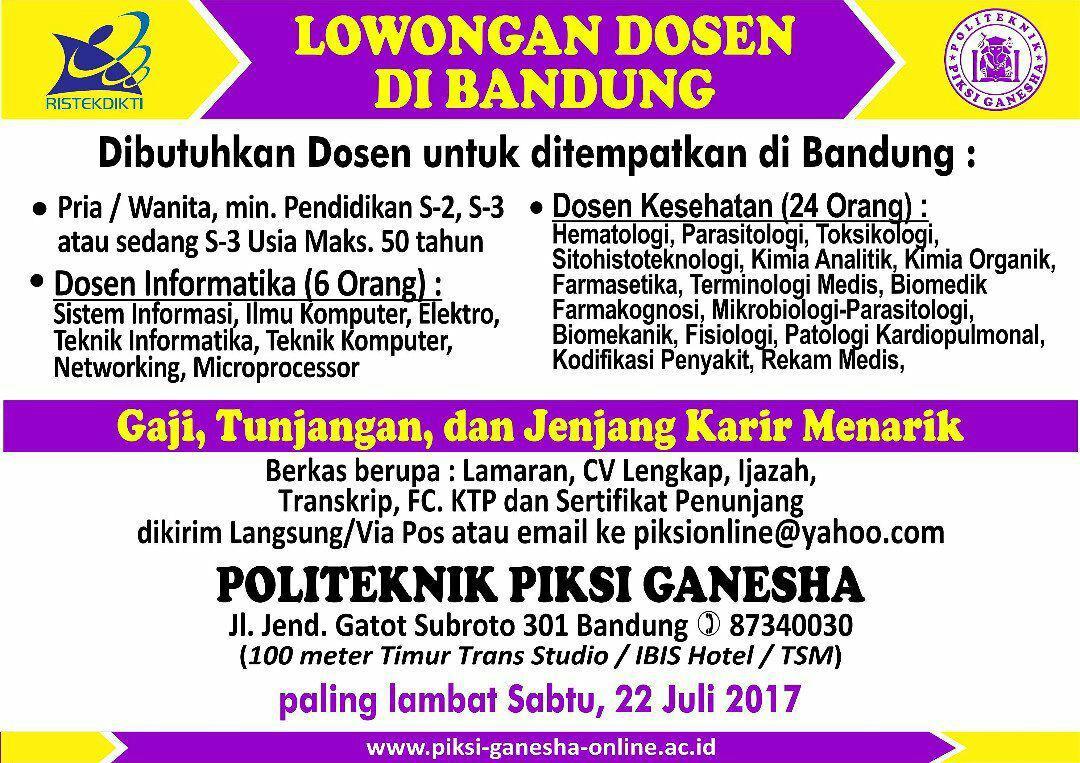 Lowongan Kerja Doesen Politeknik PIKSI Ganesha Bandung Juli 2017