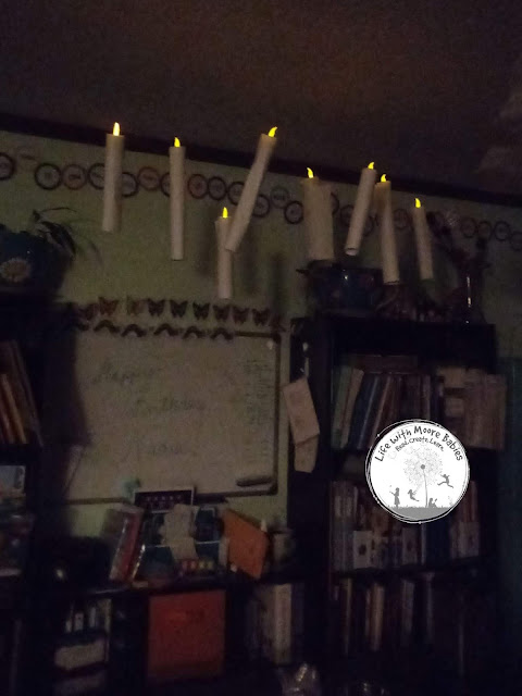 Simple floating candle decorations are pretty even at night.
