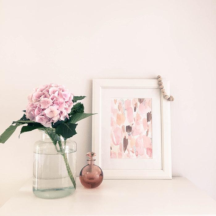 Hortensia, vaaleanpunainen, vesivärit, taide, Annan tirpat
