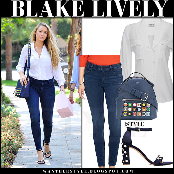 Blake Lively in white skirt, skinny jeans old navy and embellished sandals stuart weitzman morepearls what she wore july 30 2017 street style