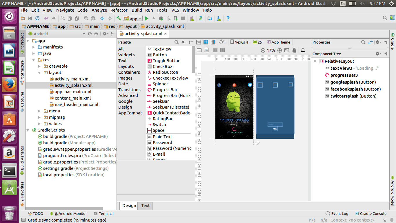 how to create splash screen in android studio