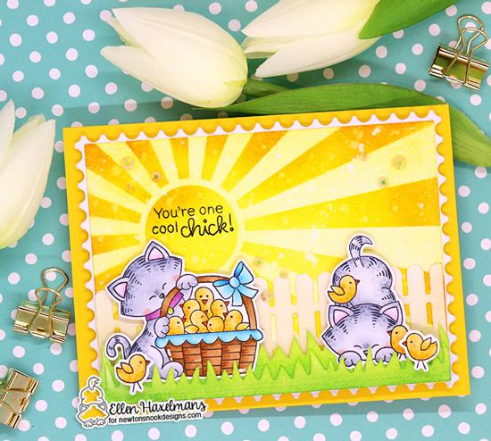 Kitty and chicks Card by Ellen Haxelmans | Newton's Peeps Stamp Set by Newton's Nook Designs #newtonsnook #handmade