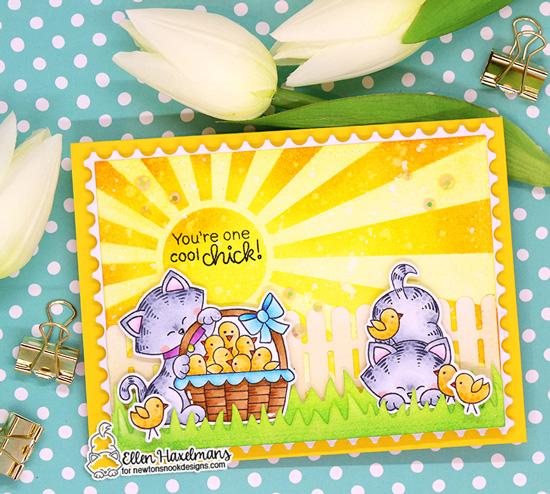Kitty and chicks Card by Ellen Haxelmans | Newton's Peeps Stamp Set by Newton's Nook Designs #newtonsnook #handmade