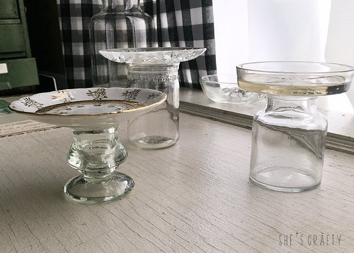 How to make candle holders from thrift store glassware