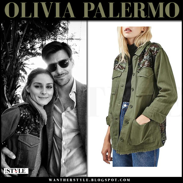 Olivia Palermo in canvas sequinned army green jacket topshop what she wore instagram october 2016