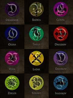 Foto de los emblemas de las 12 casas reales.