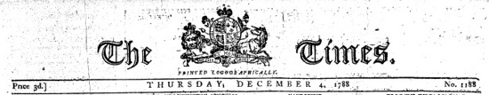 The Times, header December 1788
