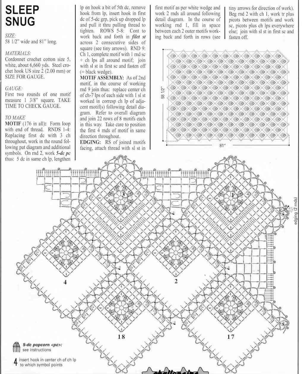 Схема вязания мотива крючком