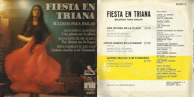 """FERNANDILLO DE MORÓN, DIEGO DEL GASTOR """"FIESTA EN TRIANA"""" – BULERÍAS PARA BAILAR - ARIOLA 1971 EP"""