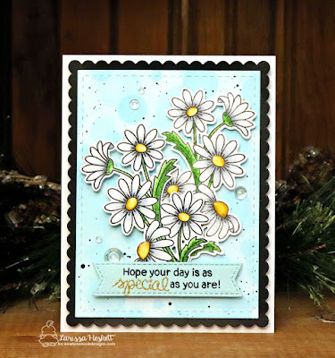 Hope you Day is Special by Larissa Heskett for Newton's Nook Designs using Dainty Daisies, Bokeh Stencil, Frames & Flags Die Set