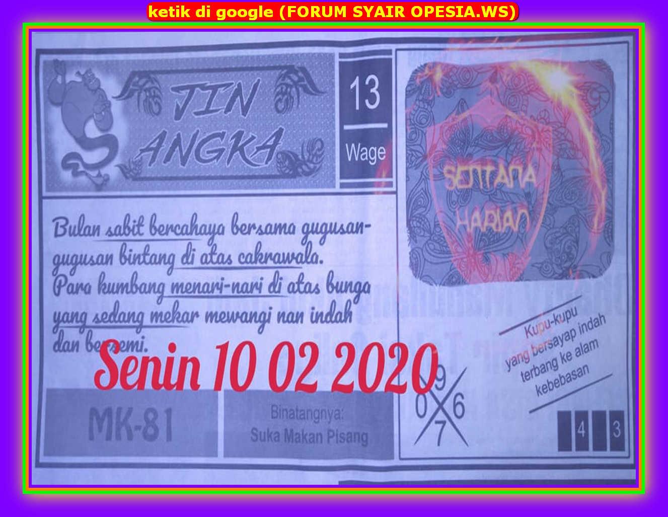 Kode syair Hongkong Senin 10 Februari 2020 64