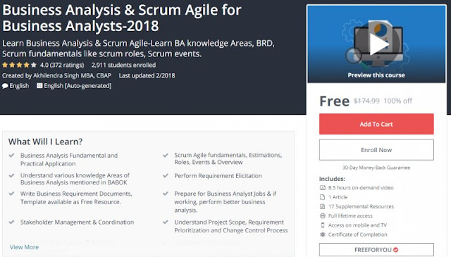[100% Off] Business Analysis & Scrum Agile for Business Analysts-2018| Worth 174,99$