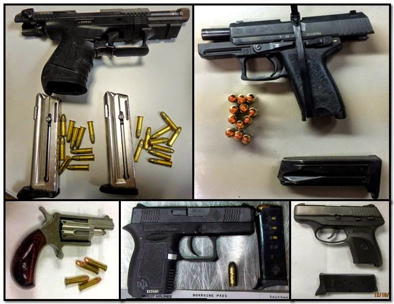 Clockwise from top left, firearms discovered at: AMA, BNA, JAN, LBB & MCO