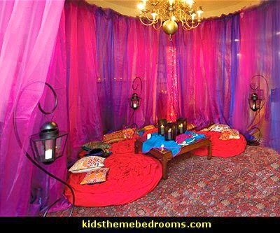 I Dream of Jeannie theme bedrooms - Moroccan style decorating - Jeannie bedroom harem style - Arabian Nights theme bedrooms - bed canopy - Moroccan stencils - I dream of Jeannie bottle - satin bedding - throw pillows - Moroccan furniture - Aladdin bedroom ideas - Arabian princess costume -  Harem Costumes