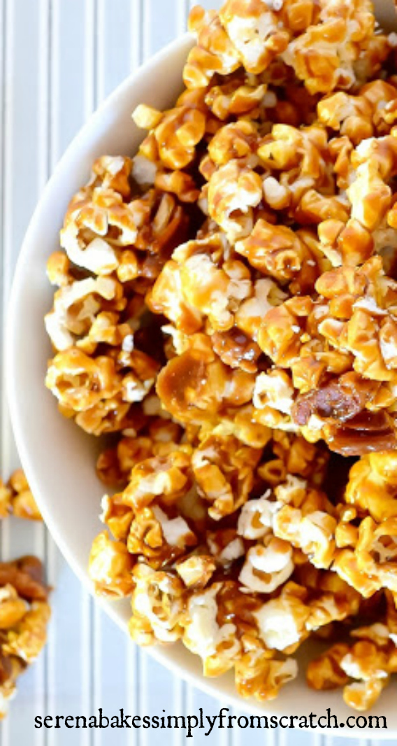 Caramel Corn from scratch is so easy to make and a fun snack for movie night! serenabakessimplyfromscratch.com