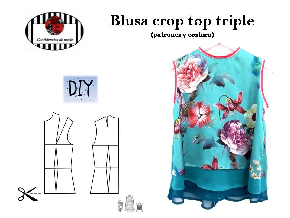Cómo hacer una blusa crop top triple. DIY (patrones y costura)