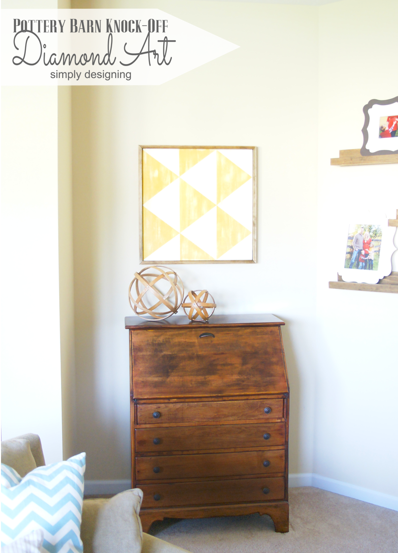 Knock-Off Diamond Art | you'll be amazed at how simple this is to recreate for a fraction of the cost!  Come and check it out, and pin for later!  | #knockoff #knockoffdecor #wallart #homedecor #pbknockoff
