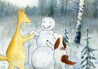 Postcard illustration of Hulmu Hukka and Haukku Spaniel making a snowman in a winter day
