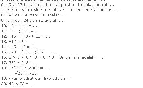 Soal Ulangan Harian Matematika Kelas 5 SD Bab Bilangan Bulat
