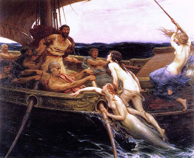 a Herbert James Draper painting of Ulysses and the sirens