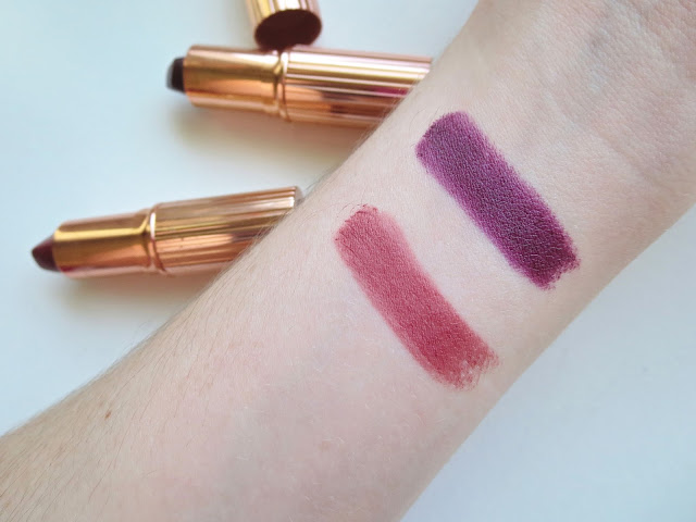 a picture of Charlotte Tilbury Matte Revolution Lipsticks in Bond Girl & Glastonberry (swatch)