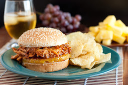 Hawaiian BBQ Pulled Chicken Sandwiches - Slow Cooker Recipe