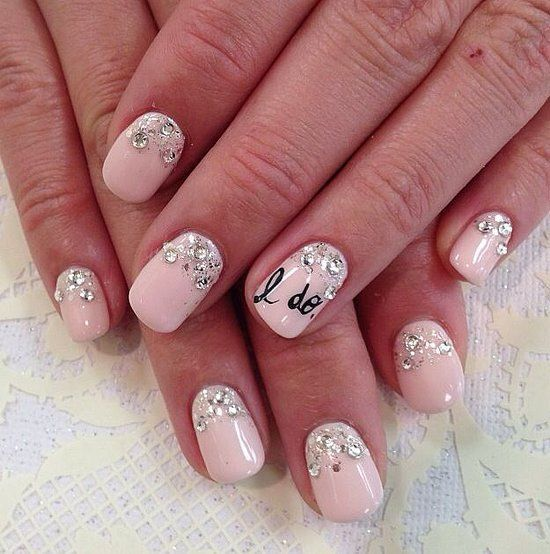 Pink Nails with Pearls.