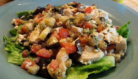 Mediterranean Chicken Salad with Feta Cheese and Pine Nuts