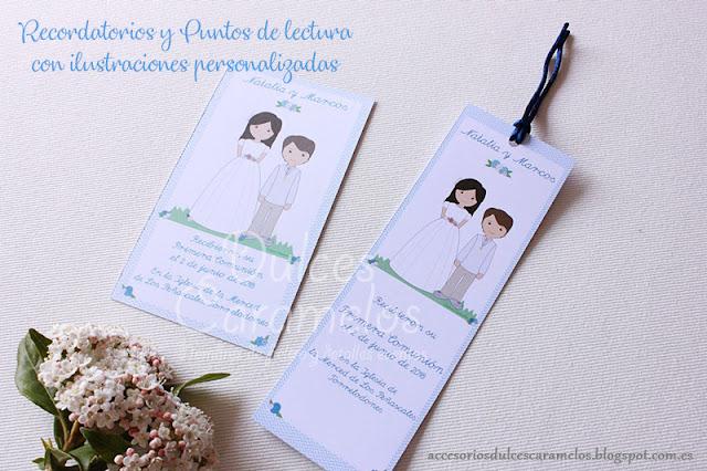 Recordatorios y puntos de lectura con ilustración personalizada para Natalia y Marcos