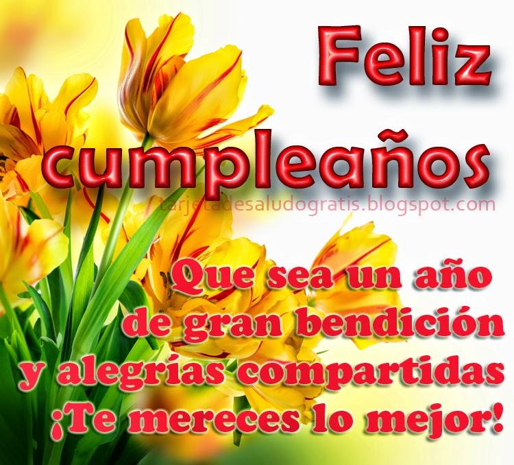 Tarjeta de Feliz cumpleaños con motivo floral