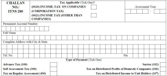 epay tax challan no 280
