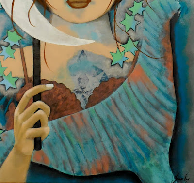 Close View of Tail of Mermaid and Patina Moon Original Folk Painting by Jeanne Fry