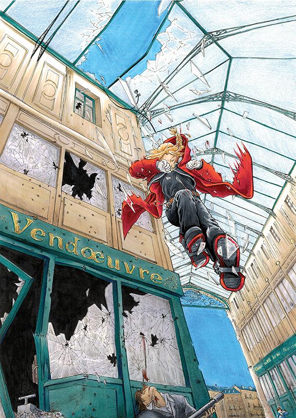 Fanart FMA - Edward Elric sautant à travers une verrière
