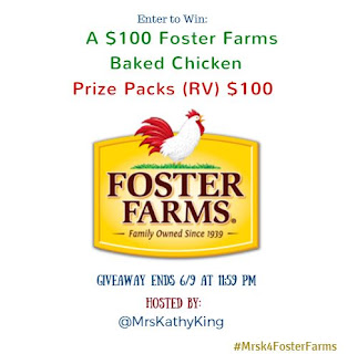 Enter the $100 Foster Farms Baked Chicken Giveaway. Ends 6/9