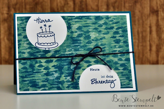 Stampin up Geburtstagspuzzle Punkte Torte Zarte Pflaume Jeansblau Geburtstagskarte Kreisstanze