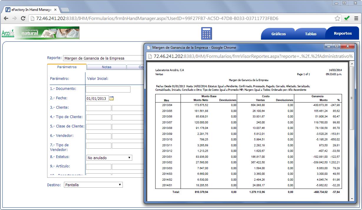 In Hand Manager: Reporte de Margen de Ganancias de la Empresa - Productos Web de eFactory para Móviles y Tabletas