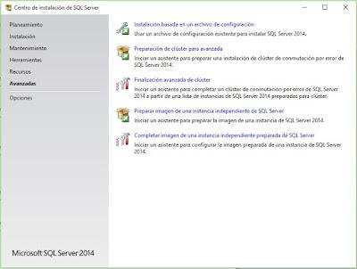 Opciones avanzadas de reparación SQL Server 2014.