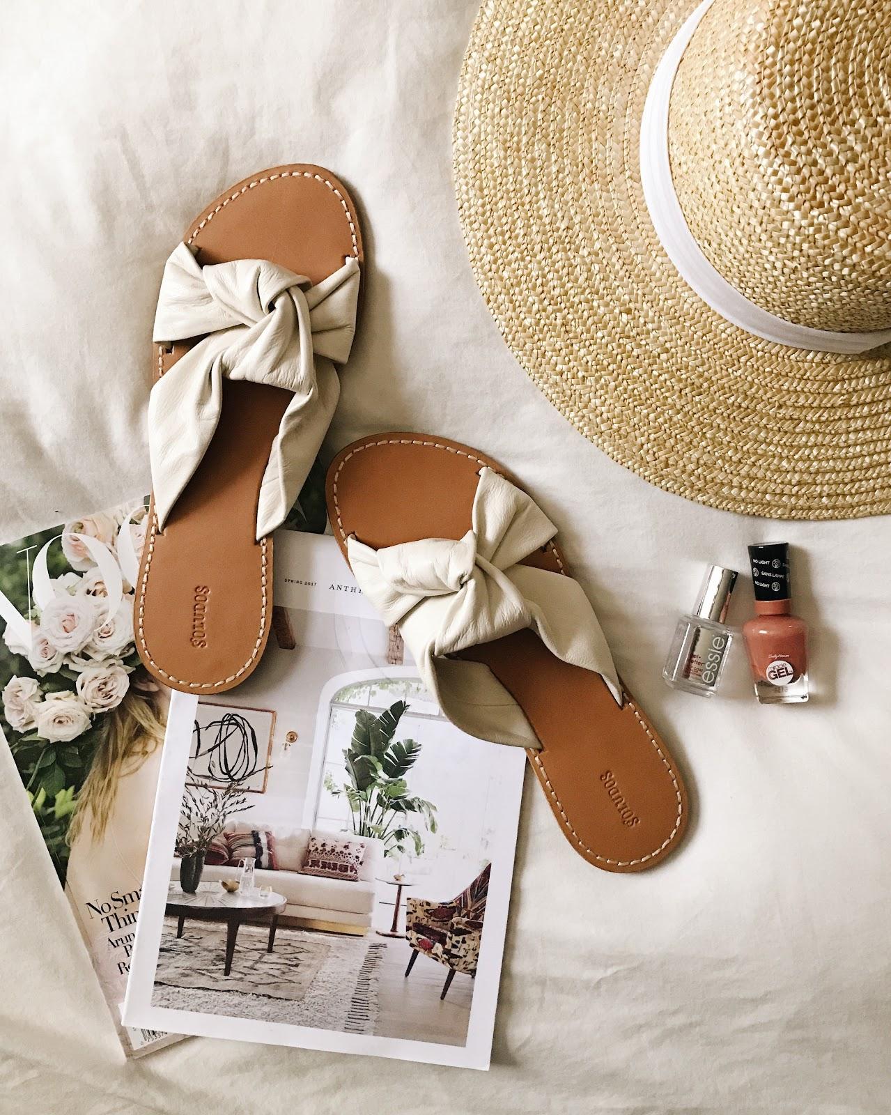 white slide sandals