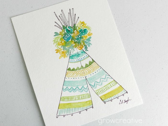 Yellow Boho Watercolor Teepee and Flowers Painting by Elise Engh