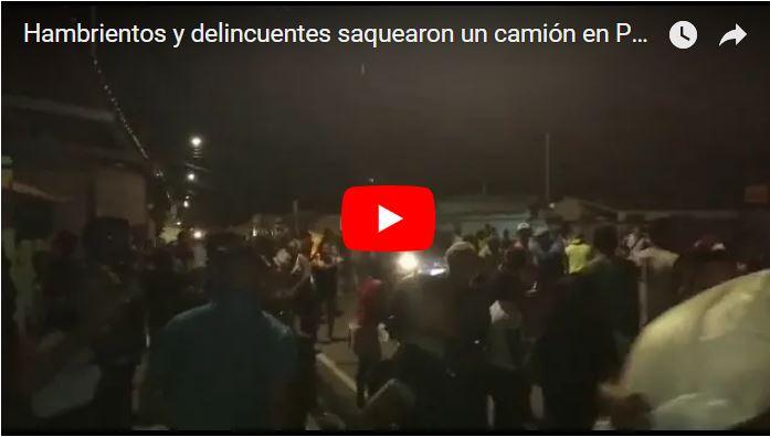 Hambrientos y delincuentes saquearon un camión en Portuguesa