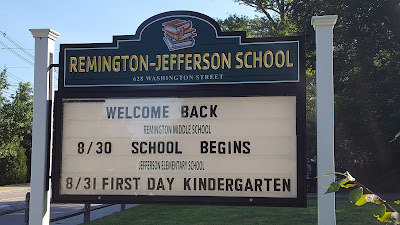 Remington-Jefferson School sign on Washington St