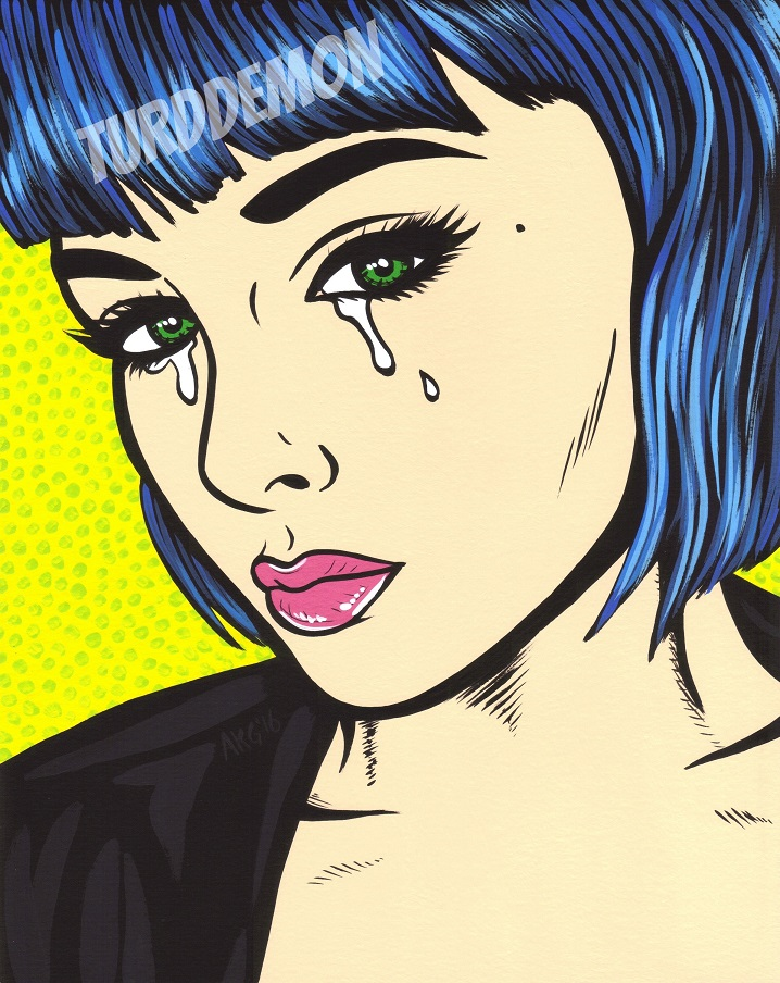 blue bangs pop art sad girl crying woman original painting