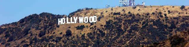 A panoramic photo of the Hollywood sign in Los Angeles, California