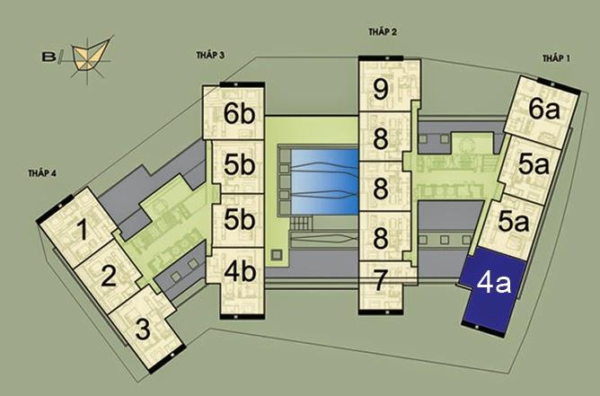 Vị trí căn hộ CH4A- 198m2 trên mặt bằng căn hộ Dolphin Plaza