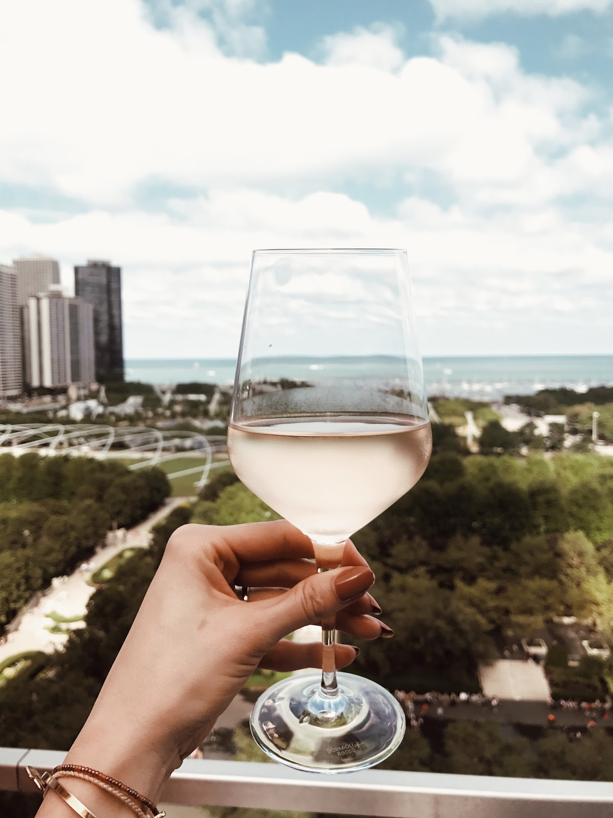 rosé with a view at Cindy's Rooftop in Chicago