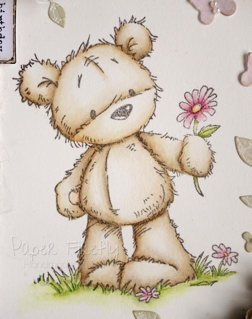 Pretty pastel card featuring James bear from LOTV
