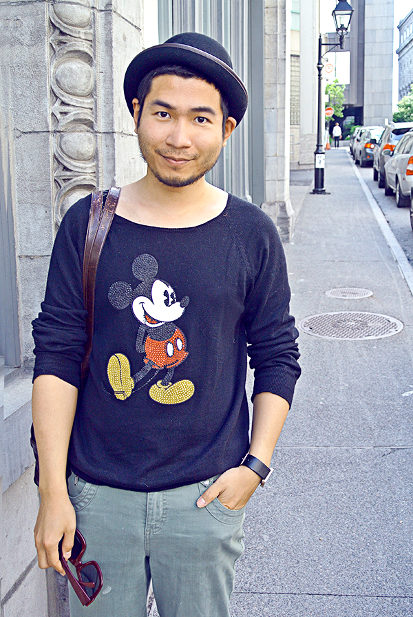 Ben Liu, Men in black Mickey Mouse T-shirt and Magritte melon wool bowler hat in Old Vieux Montreal