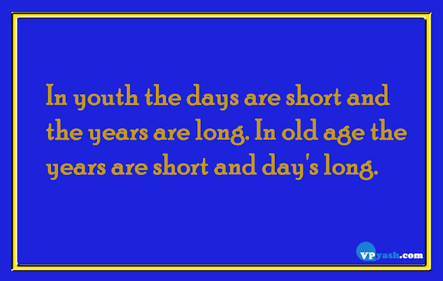 In youth the days are short and the years are long. In old age the years are short and day's long  life quotes