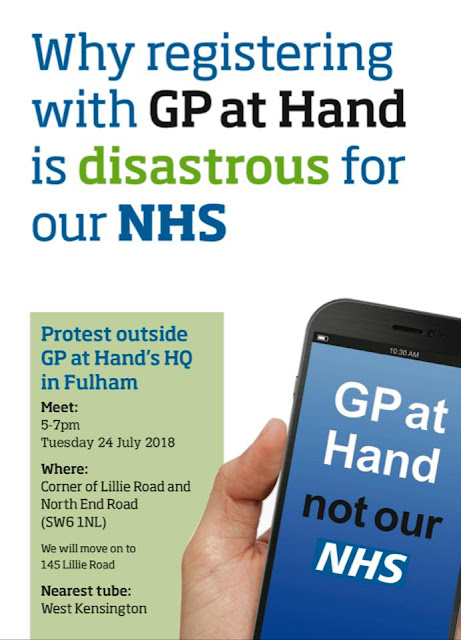 Please join this protest against GP at Hand on Tuesday 24 July 2018 at 5-7pm,
