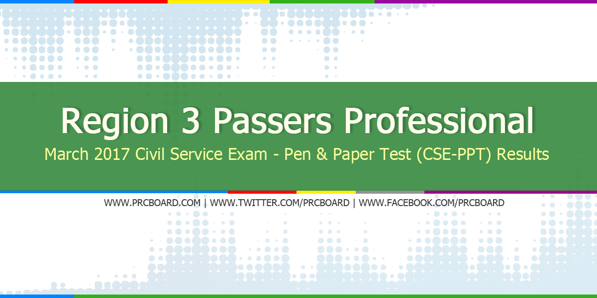 Region 3 Passers Professional: March 2017 Civil Service Exam Results ...